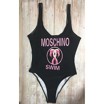 MOSCHINO One Piece Swimwear Bikini Set MOS04 Black