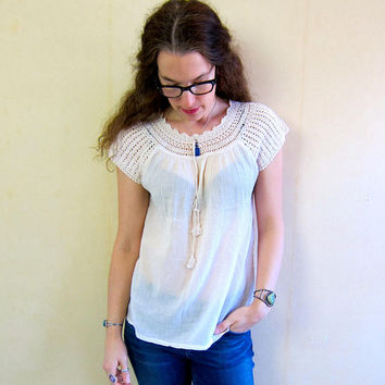 Bohemian Cotton Gauze Shirt Vintage 70s Sheer White Top Crochet Neckline MN Boho Hippie Gypsy Tee Vintage India Blouse Womens XS Small