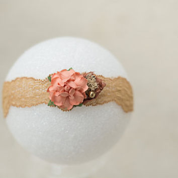 Newborn Headband, Lace Headband, Champagne Headband, Fancy, Rose Headband, Brown Headband, Newborn Girl Photo Prop, Organic Headband