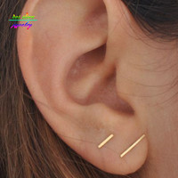 Minimalist Gold Bar Stud Earrings Dainty Gold Or Silver