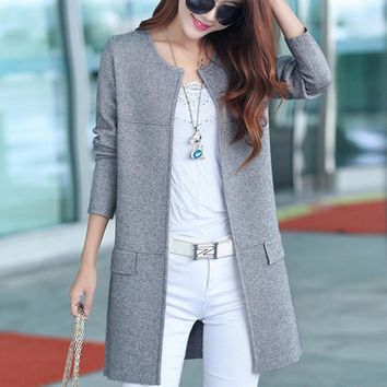 new spring autumn Fashion Woman Open Stitch Knitted Long Cardigan women Long Sleeve slim loose female long outwear Sweater coat