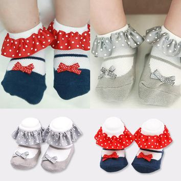 0-4 Yrs Baby Girl Cute Princess Socks Ruffles Polka Dots Lovely Toddler Sox Anti Slip Kids Summer Spring Cotton Socks Breathable