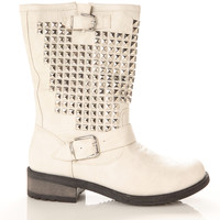 Faux Leather Studded Double Buckle Biker Boots