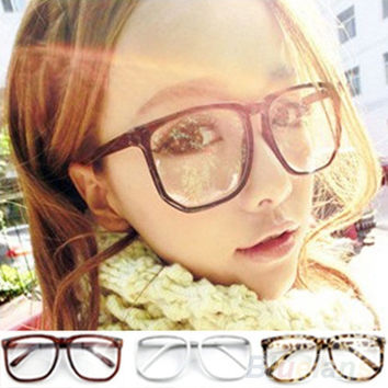 Unisex Oversized Retro Tortoise Shell Nerd Geek Clear Lens Plain Glasses = 1946080004