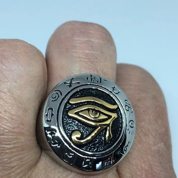 Vintage 1980's Gothic Egyptian Eye of Horus Golden Stainless Steel Men's Ring