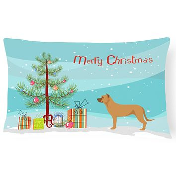 Alano Espanol Spanish Bulldog Christmas Canvas Fabric Decorative Pillow BB8506PW1216