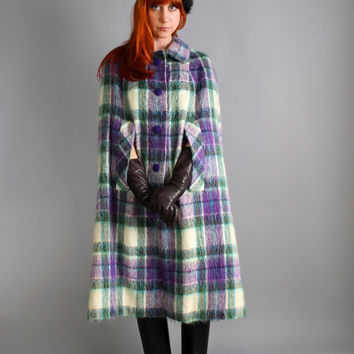 1960s Purple green Cream Plaid Wool Cape Coat. Outerwear. Mod. Fall Fashion. Winter Cape Coat