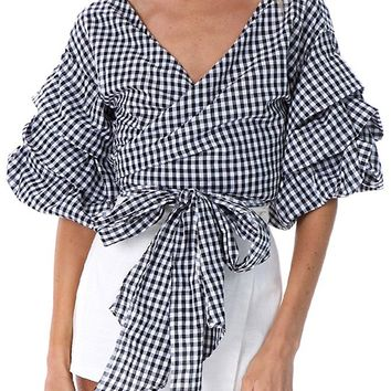 Change Maker Black White Pattern Gingham Plaid 3/4 Sleeve Cross Wrap V Neck Ruffle Tie Waist Blouse Top