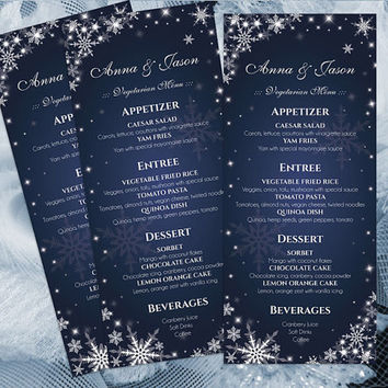 DIY Printable Wedding Menu Template | Editable MS Word file | 4 x 9.25 | Instant Download | Winter White Snowflakes Royal Navy Blue