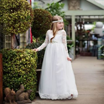 Isabelle Dress & Sash White Long Sleeve Open Back Bow Tulle Skirt Lace Gown Dress