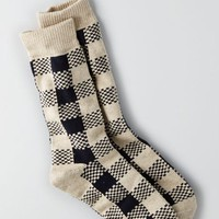 AEO 's Buffalo Check Boot Socks (White)