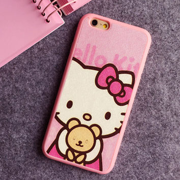 Hello Kitty Teddy Bear Phone Case For iPhone 7 7Plus 6 6s Plus 5 5s SE