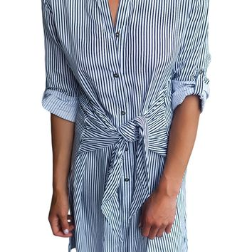 Chicloth Navy Striped Tie Waist Button Down Shirt Dress