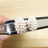 Fashion Pearl Crystal Alloy Bowknot Anti Dust Plug 3.5mm Phone Dust Stopper Earphone Cap Headphone Jack Charm for iPhone 4 4S 5 HTC Samsung