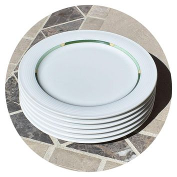 """(6) Thomas Rosenthal Group 6.25"""" Saucer / Plate White w/ Green Trim Germany"""