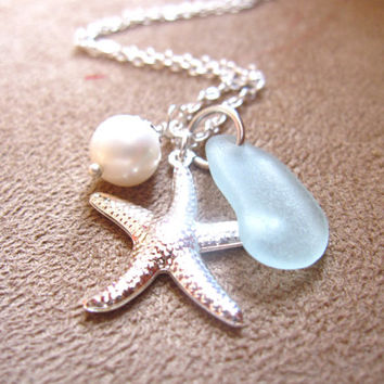 Seafoam seaglass Necklace with silver plated Starfish & swarovski pearl - Bridesmaids necklace in beach wedding - FREE SHPPING