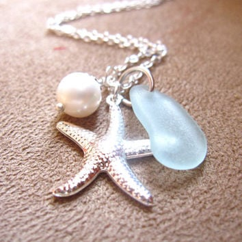 Seafoam Seaglass Starfish Neckalce with fresh water pearl - Perfect nautical gift for a beach lover - FREE SHIPPING