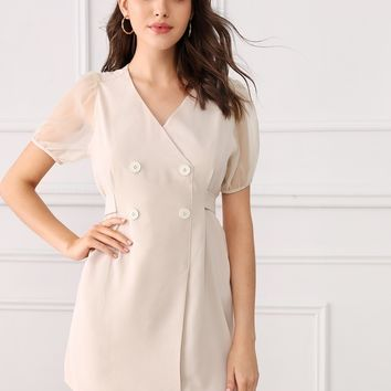Contrast Mesh Sleeve Tie Back Double Button Dress
