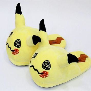 Anime Pokemon MINI cute Pikachu Plush Slipper Half Stuffed Shoes Indoor Winter Warm sh