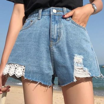 Light Blue Buttons Pockets Lace Cut Out Going out Ripped Shorts Jeans