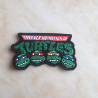 "Teenage Mutant Ninja Turtles Logo Iron / Sew on Patch Embroidered 3.5"" TMNT Badge Parche Toppa Aufnäher - Free Shipping!"