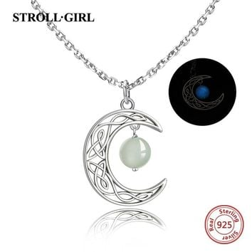 New arrival 925 sterling silver Crescent moon pendant necklace hanging with glowing ball fashion jewelry Making for women gifts