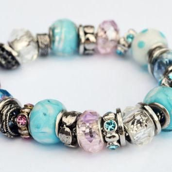 Light Blue and Pale Pink Frost Pandora Inspired Glass Beaded Bracelet with Silver Embe