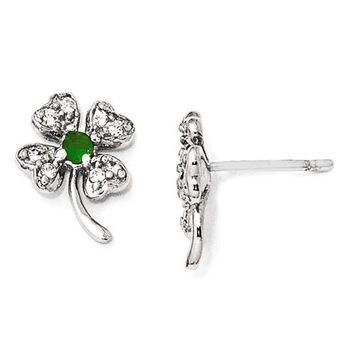 Cheryl M Sterling Silver Sim. Emerald & CZ 4-Leaf Clover Earrings
