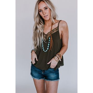 Cambry Lace Insert Camisole - Olive