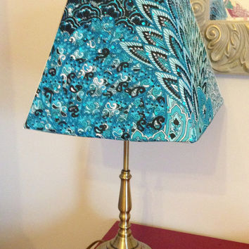 Turquoise Peacock SLIP COVER for your existing lamp shade - STRETCH to fit perfectly
