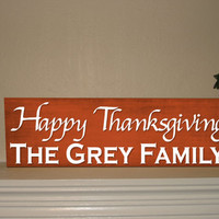 Thanksgiving Family Name Sign Personalized Last Name Wood Sign Housewarming Gifts