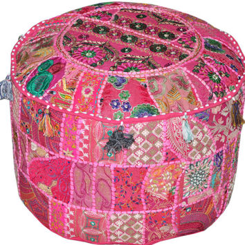 Bohemian Vintage Embroidered Pouf Ottoman Footstool Cover indian round ottoman stool pouf pillow Patterned Cocktail Vintage Hassock Pouffe