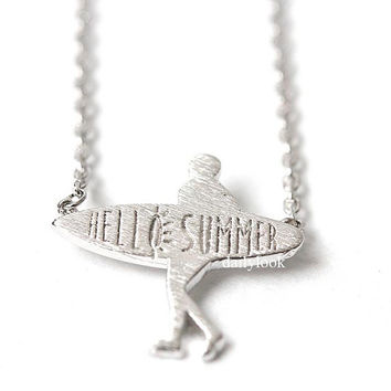 hello summer, summer necklace, surfboard necklace, surf, surfboard, beach, summer, man necklace, unique necklace, resort look, cool necklace