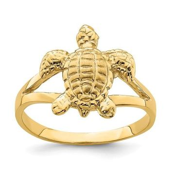 14k Yellow Gold Solid Textured Sea Turtle Ring