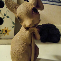 Porcelain Pottery by Anthony Chocolate brown  Mouse Figurine Signed Gift USA