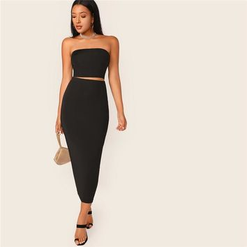 Black Solid Tube Crop Top and Long Pencil Skirt Set Slim Fit 2 Piece Set Women Stretchy Boho Skinny Two Piece Set