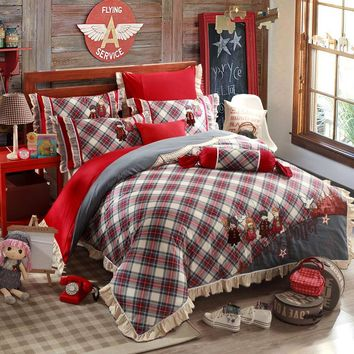 Plaid Kids Printed Embroidered England Style Cotton Bedding Sets