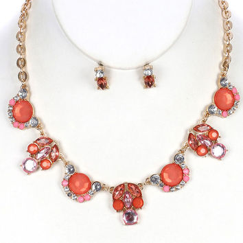 FREE U.S. SHIPPING Peach Glass Bib Necklace Earring Set Stone Statement Necklace Orange Faceted Crystal Necklace 16 Inch Statement Necklace