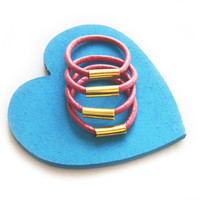 SALE - Pink Leather Stackable Ring with Gold Accents