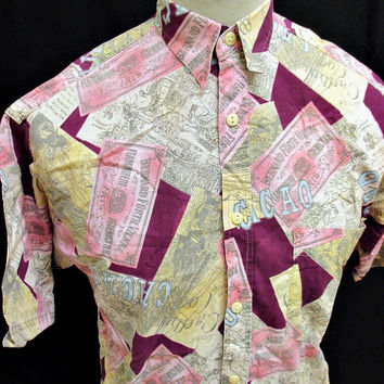 Vintage 90s Grunge Shirt Pattern Small Picasso Paris France