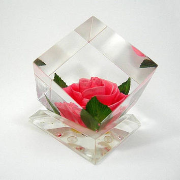 Lucite Cube with Pink Rose Paperweight - Hand-carved and Colored by Bircraft in Indiana - Vintage 1950s - Cottage Chic Decor - Gift for Her
