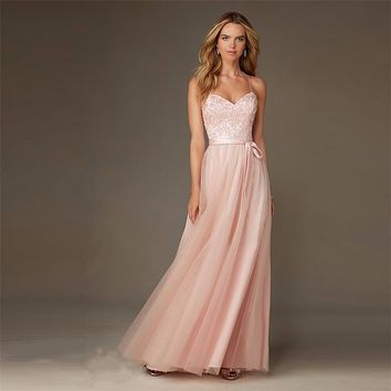 Long Blush Pink Bridesmaid Dresses For Weddings 2017 Sexy Spaghetti Strap Crisscross Back Tulle Appliques Party Dress