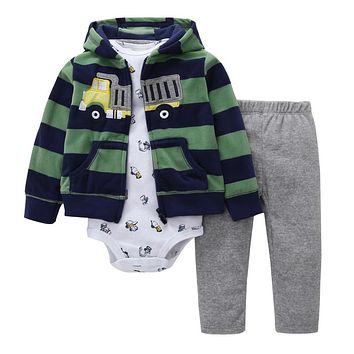 Long sleeve embroidered stripe hooded+romper+pants 3pcs newbron clothing  baby girl outfit
