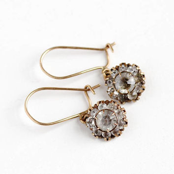 Vintage 10k Rosy Yellow Gold Paste Earrings - Late Art Deco 1940s Cluster Halo Clear Smoky Gray Fine BDA Pierced Dangle Jewelry