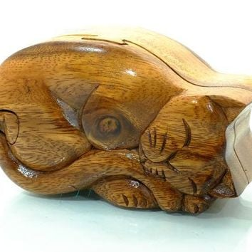 Handcarved Wooden Sleeping Cat Puzzle Boxes