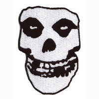 Misfits Men's Skull Embroidered Patch White