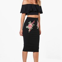 Paige Embroidered Frill Crop & Midi Co-ord Set | Boohoo