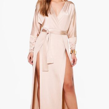 Plus Verity Slinky Plunge Split Maxi Dress | Boohoo