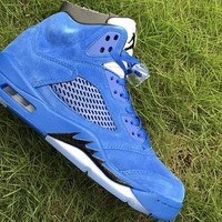 Best Deal Online Nike Air Jordan 5 Blue Suede Retro 136027-401