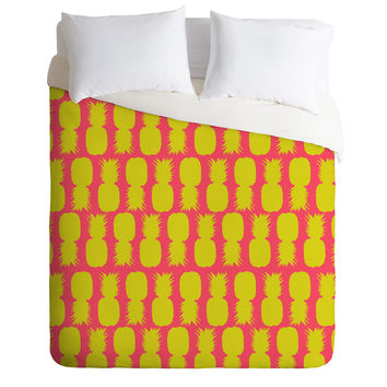 Allyson Johnson Neon Pineapples Duvet Cover